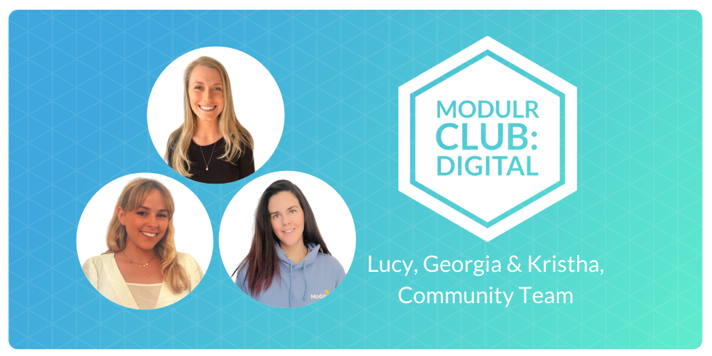 Lucy, Kristha and Georgia, Modulr's community team